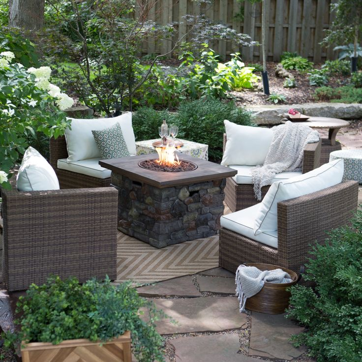 Coral Coast Albena Fire Pit Chat Set - Arranged in a semi-circle or broken up and placed all around the alluring fire pit table, the modular pieces in the Coral Coast Albena All-Weather Wic...