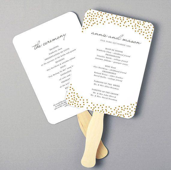 printable fan program fan program template wedding fan template gold dots diy in microsoft word or apple pages instant download