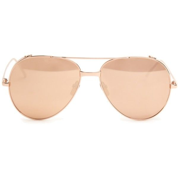 Linda Farrow Rose gold-plated mirrored aviators found on Polyvore featuring accessories, eyewear, sunglasses, glasses, sunnies, rose gold, mirror aviators, oversized aviators, rose lens sunglasses and mirror lens sunglasses
