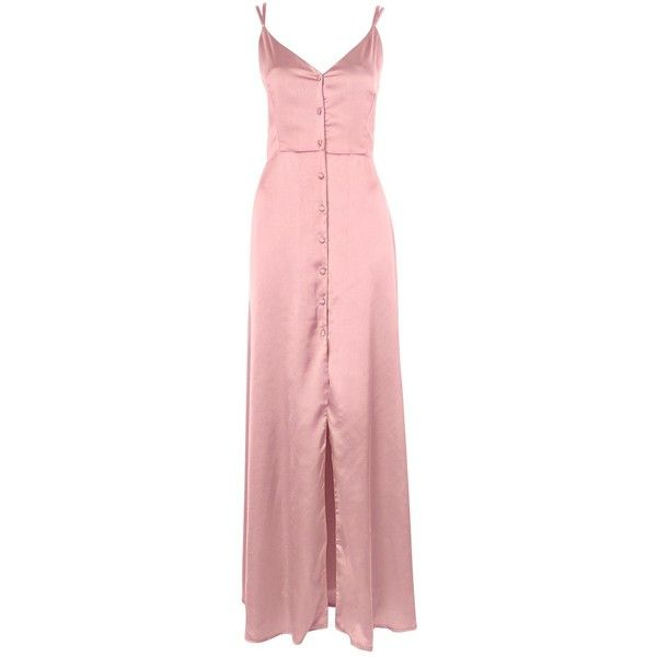 Satin Button Down Maxi Dress by Oh My Love ($84) ❤ liked on Polyvore featuring dresses, maxi, pink, maxi dresses, button down dress, pink red dress, topshop dresses and red dress
