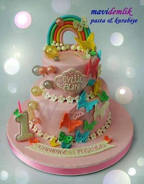 mavi demlik mutfağı- izmir butik pasta kurabiye cupcake tasarım- şeker hamurlu-kur: KELEBEKLİ BALONLU 1. YAŞ PASTASI
