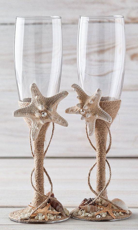 Champagne Glasses Nautical Wedding Toasting Flutes  Beach