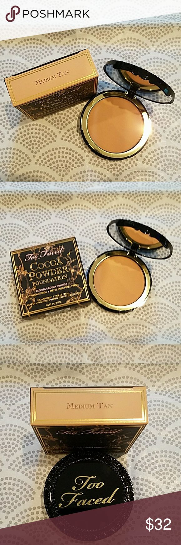 """Too Faced Cocoa Powder Foundation *MEDIUM TAN*A fan fave 5 star rated powder foundation with over 600 reviews on the Too Faced site. Such a great, buildable medium to full coverage foundation. Matte but never dry """"rose petal"""" finish, oil absorbing, and it smells delicious. Diminishes, and won't settle into fine lines and wrinkles. This brand is cruelty freeyay! Too Faced Makeup Foundation"""