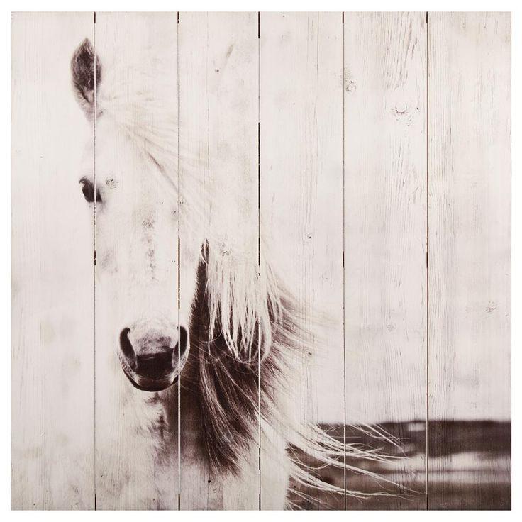 Art mural en bois - Cheval blanc/Art mural/Décor mural|Bouclair.com