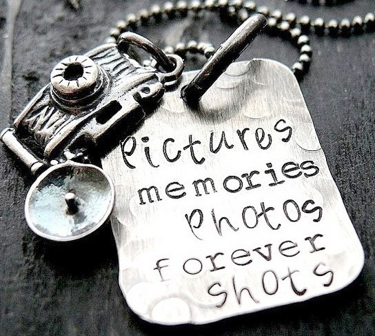 Love this one, too!: Necklaces Rustic, Hands Stamps, Camera Necklaces, Charms Necklaces, Candid Camera, Memories Photo, Camera Jewelry, Personalized Camera, Originals Camera