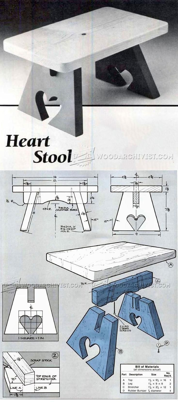 Heart Stool Plan - Furniture Plans and Projects | WoodArchivist.com