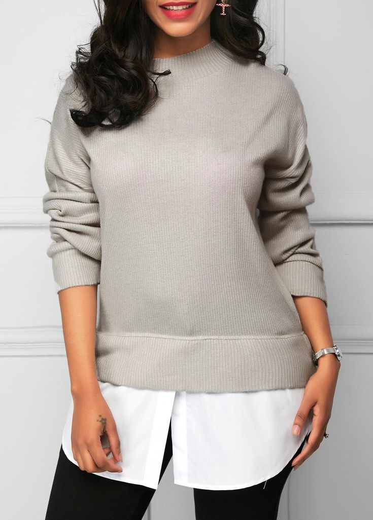 Patchwork Curved Long Sleeve Grey Blouse