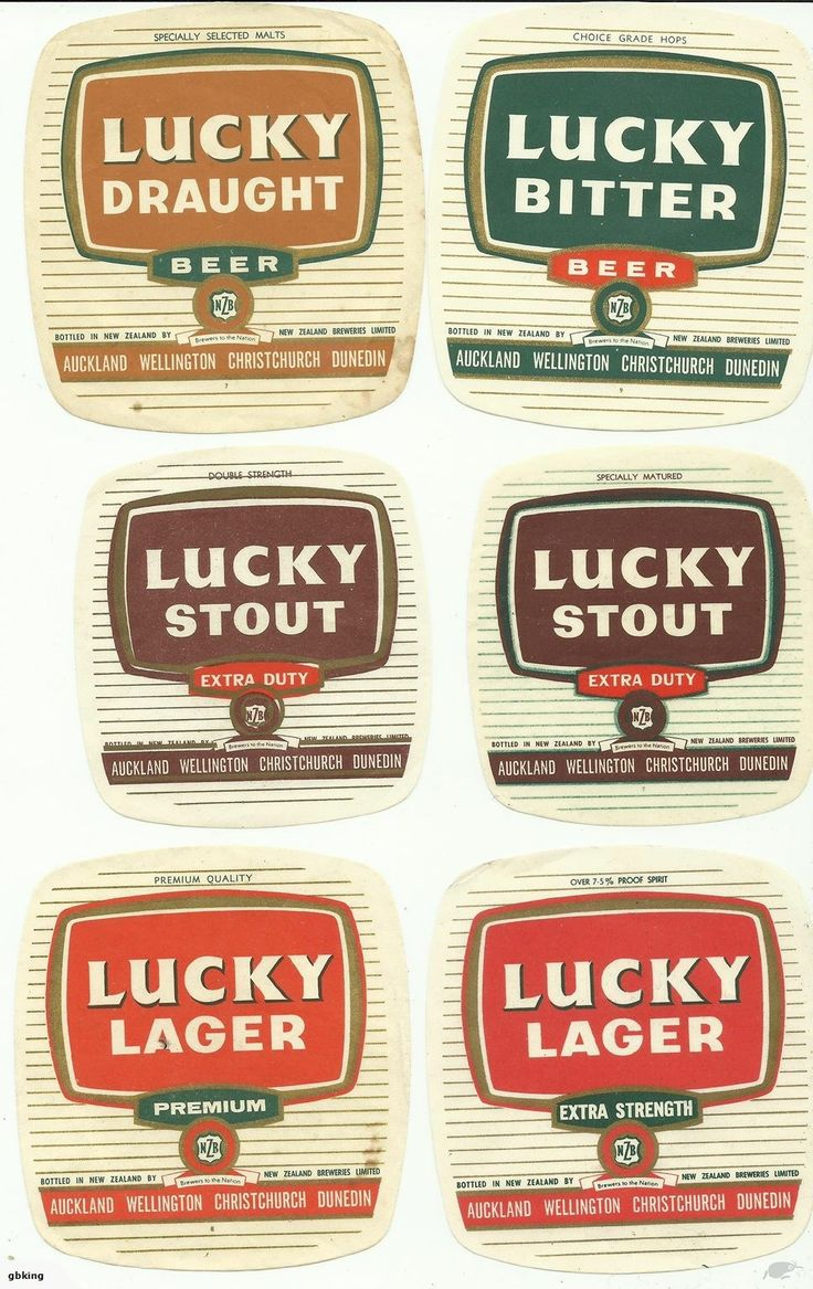 all 6 Lucky Beer Labels as produced by NZ Breweries in the 1960's.