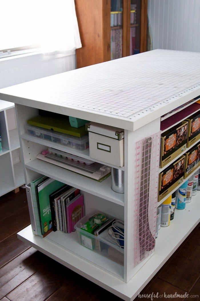 Upcycled Bookcase Rolling Work Table With Images Craft Room