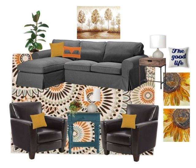 """Misti's Living Room"" by heartsdesireathome on Polyvore featuring interior, interiors, interior design, home, home decor, interior decorating, Safavieh, Alexandra Ferguson, Rizzy Home and Threshold:"