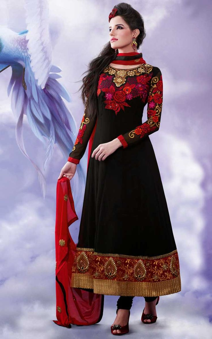BLACK & RED GEORGETTE ANARKALI SALWAR KAMEEZ - DIF 30160