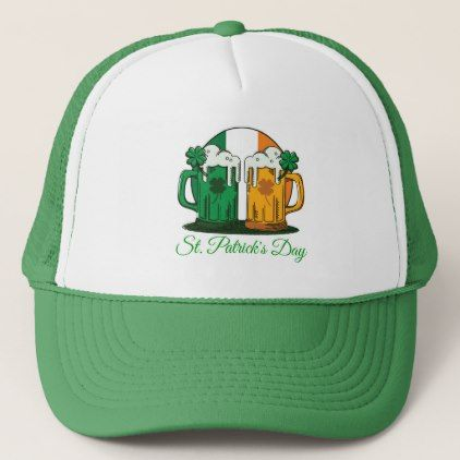 St. Patrick's Day. Beer Stein. Ireland Flag. Trucker Hat - st. patricks day gifts irish ireland green fun party diy custom holiday