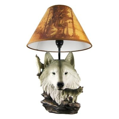 Gray Wolf Bust Table Lamp W Nature Print Shade