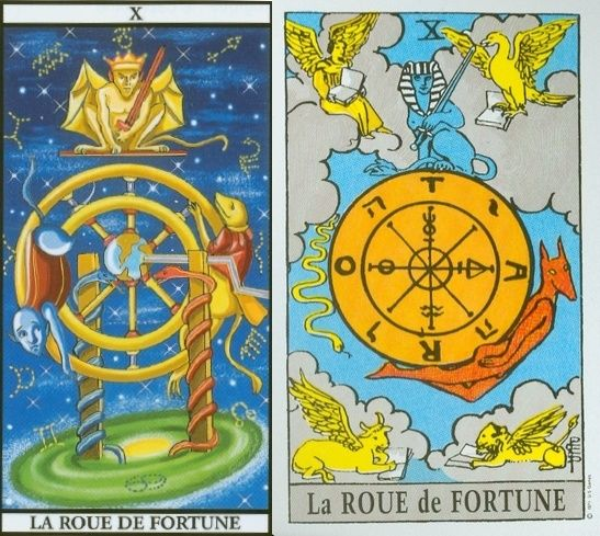 tarot carte du diable | La Roue de Fortune - Tarot de Marseille et Tarot Rider.