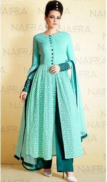 Pakistani Style Light Turquoise Color Net Narrow Pants Dresses | FH461071952 #heenastyle , #boutique , #pakistani, #salwar , #kameez , #suit , #dresses , #styles , #fashion , #clothing , #henna , #designs , #mehndi