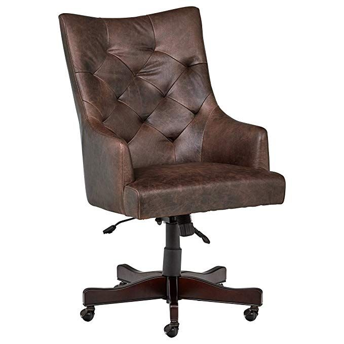 Stone Beam Leather Swivel Office Chair On Wheels 26 4 W Brown