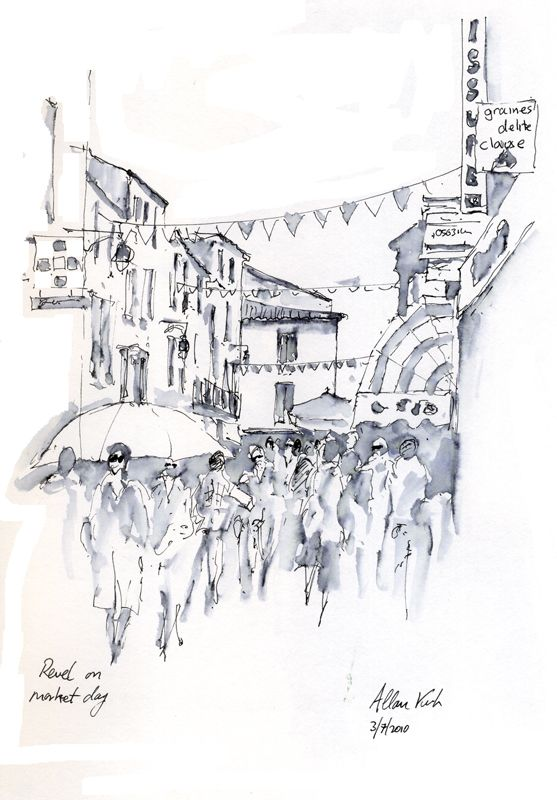 Revel Market, pen and wash by artist Allan Kirk