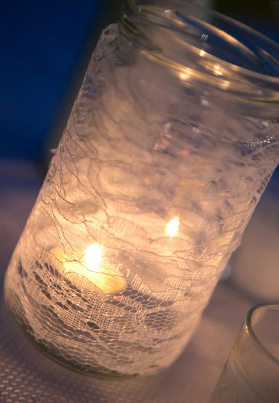 Lace decoupage mason jar candleholders- Mitheo Events | Concept Events Styling