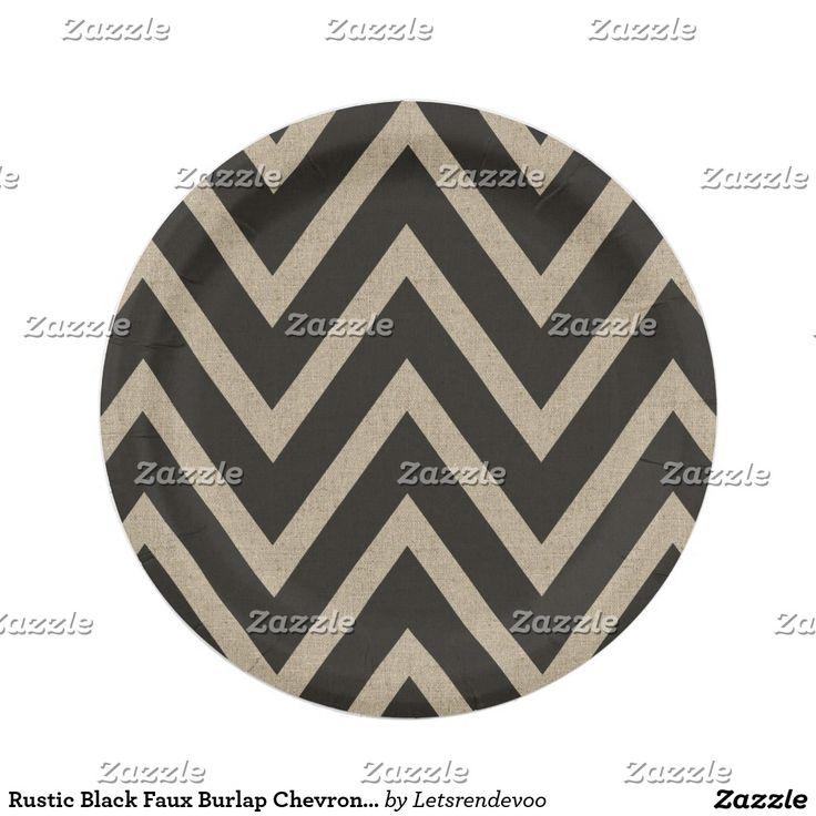 Rustic Black Faux Burlap Chevron Pattern Paper Plate  sc 1 st  Pinterest & 1090 best Custom Party PAPER PLATES images on Pinterest   Christmas ...