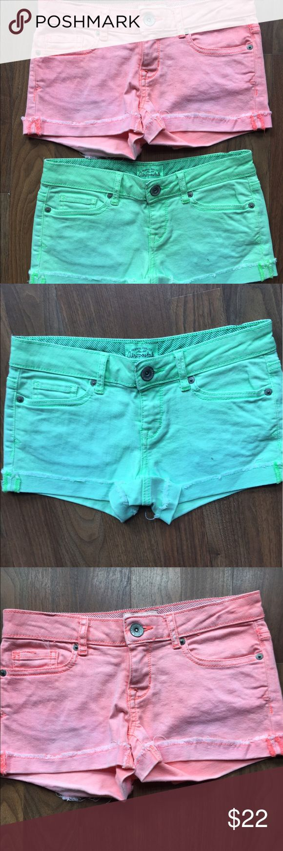Lot 2 Aeropostale Sz 0 Neon Green Pink shorts Pink and green denim shorts.  Size 0.  Both in great condition Aeropostale Shorts Jean Shorts