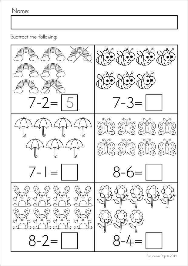 Kindergarten SPRING Math & Literacy unit. 93 pages in total. A page from the unit: Subtraction