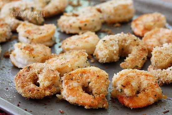 Delicious and healthy breaded shrimp, without the added fat. Jumbo shrimp, coated with seasoned breadcrumbs, panko and grated cheese, then baked until golden.  Serve this with lemon wedges and you will have one happy family. You may want to make extra, because these shrimp disappear quickly!   I had a lot of extra crumbs left after I breaded them, so I double dipped the shrimp into the egg and breadcrumbs until I used them all up which gave the shrimp extra coating.      Healthy Breaded…