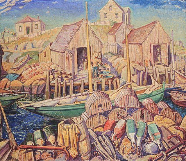 """Nova Scotia Fishing Village,"" Arthur Lismer, 1930, oil on canvas, 36.4 x 42.3"", National Gallery of Canada."