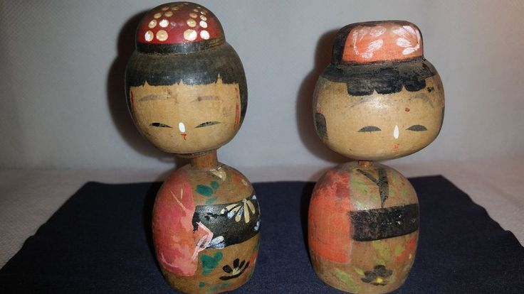 Vintage JAPANESE Wooden KOKESHI Bobble Head Dolls ~ Antique Kokeshi