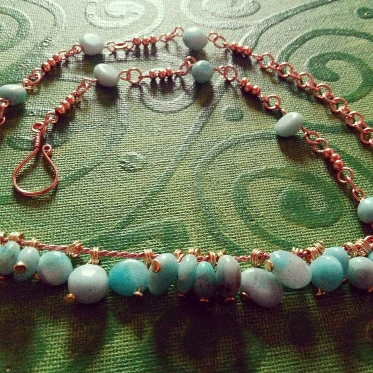 Amazonite and copper necklace Custom order Terramor.etsy.com
