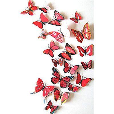Beautiful  PCS D Schmetterlinge Wanddeko Aufkleber Abziehbilder Schlagfestem Kunststoff Schmetterling Dekorationen Wand Dekor