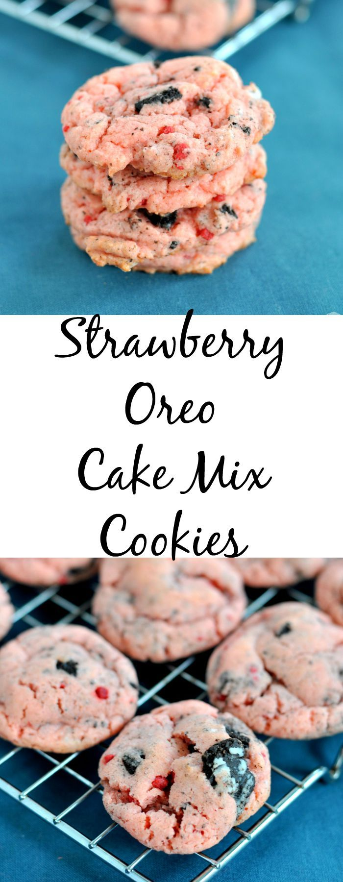4 ingredients and 15 minutes is all you need to make strawberry Oreo cake mix cookies!