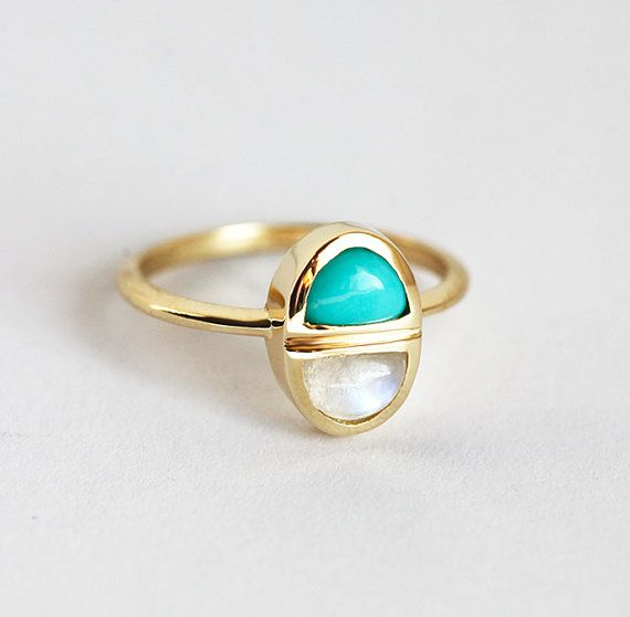 Mothers Ring Mom Ring Moonstone Ring Turquoise Ring by MinimalVS