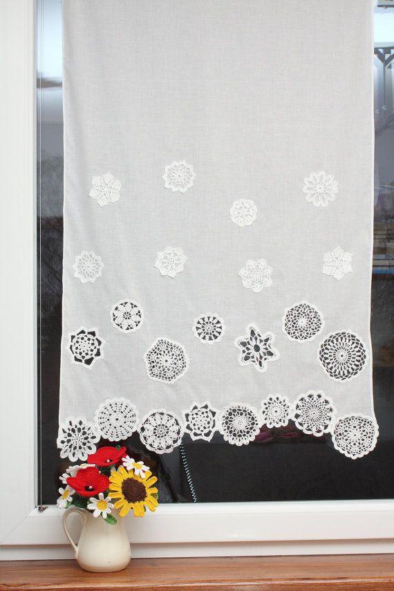 Cortina con tapetes de ganchillo - 4 filas, cortina corta, decoración de ventana