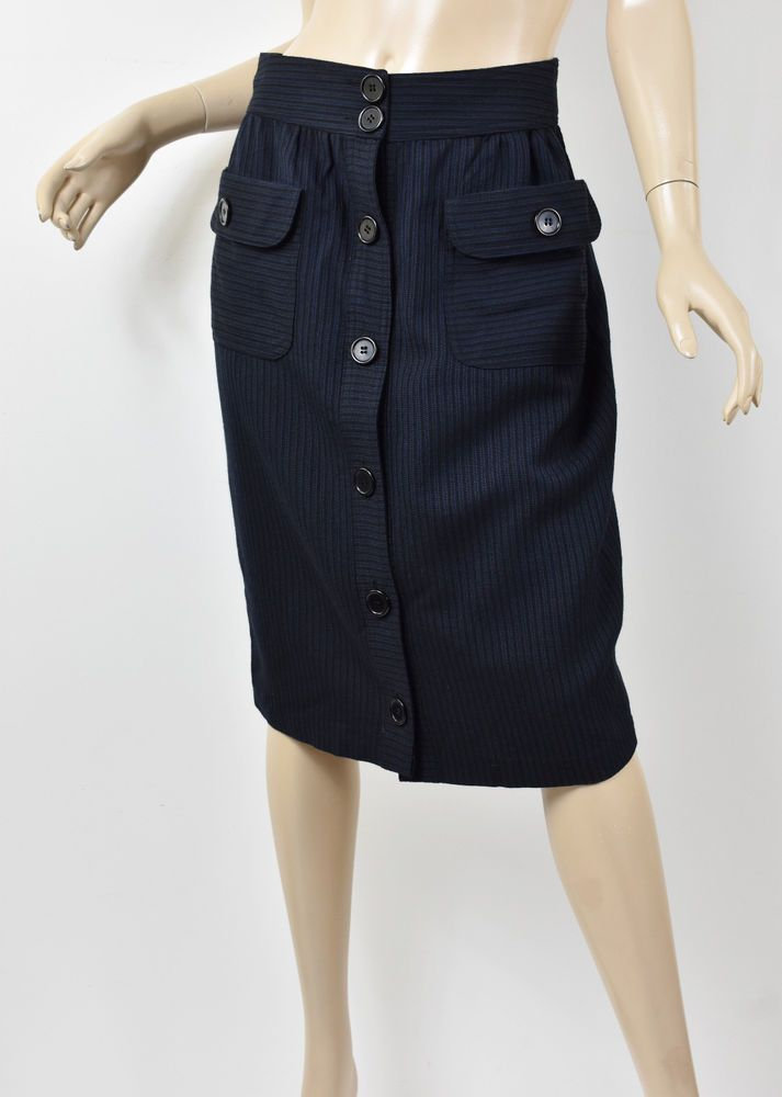 370731728bb26c BUILT BY WENDY Navy & Black Textured Wool Blend Button Down Midi Skirt XS  #fashion #clothing #shoes #accessories #womensclothing #skirts (ebay link)