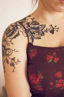 .. shoulder floral tattoo, placement :3