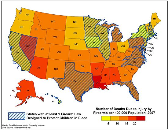 The map overlays the map of firearm deaths above with gun control restrictions by state