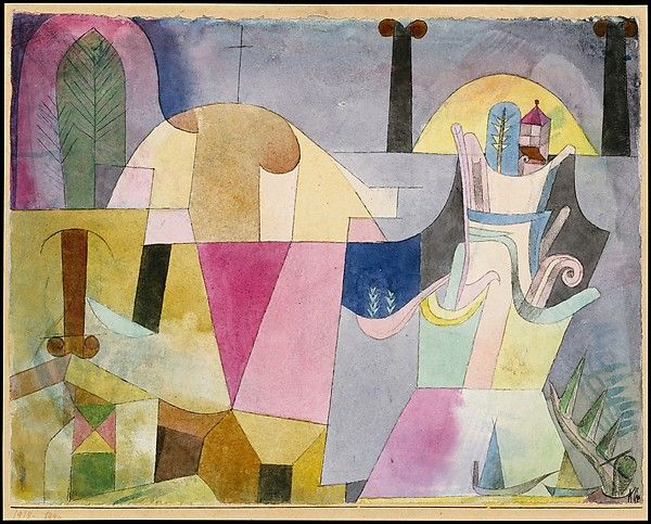 Paul Klee, Black Columns in a Landscape, 1919 In the spring of 1919, Klee rented a large studio in the Schloss Suresnes, a neglected eighteenth-century palace in Schwabing, Munich's artists' quarter. According to Klee's son Felix, Suresnes, its park, and the nearby Englischer Garten served as inspiration for this watercolor. It depicts Ionic columns, a large chestnut leaf, a thin black cross, a small red pavilion, and a boat on the River Isar, which flows through Munich.