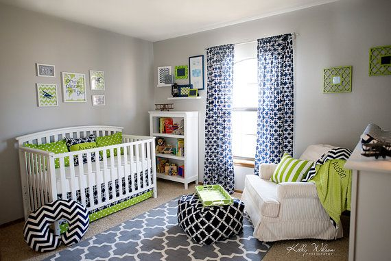 Cute, but too much of the patterns for us ...Crib Bedding Set Collin14a Navy Lime Green by leahashleyokc