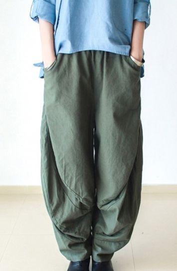 Gray wide leg linen pants 2016 New