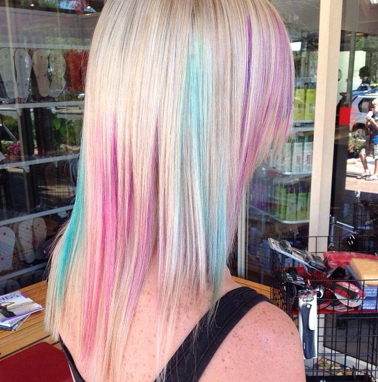 Elumen fun for summer!  #smythsinc #pinkhair #bluehair #pastelhair #purplehair #blonde #colourful #goldwell #elumen