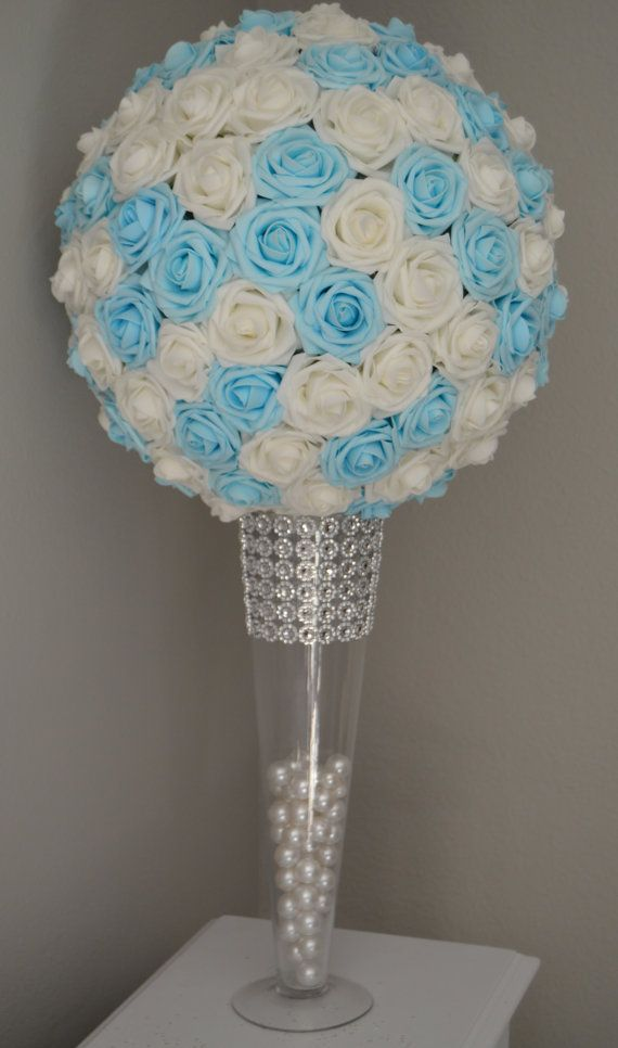 Light blue white mix flower ball pomander kissing