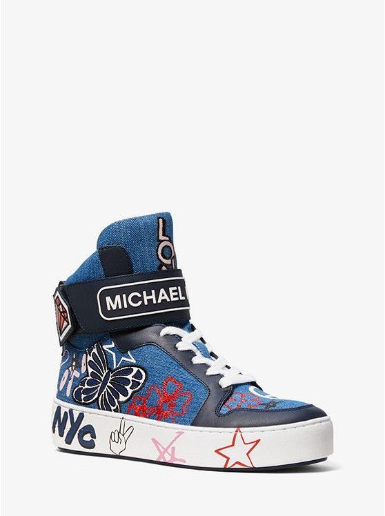 new style 06034 c7062 MICHAEL KORS Trent Embroidered Denim High-Top Sneaker ~ Today s Fashion  Item  MichaelKors