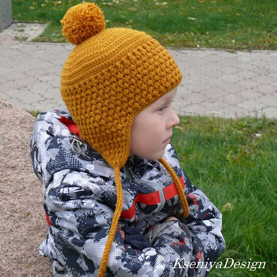 Crochet Hat Pattern Beanie Ear Flap Hat Hat For Baby Etsy Crochet Hat Pattern Kids Crochet Hat Pattern Kids Hats Patterns