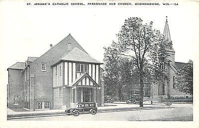 Oconomowoc WI~Stick-Style School, St Jerome's Catholic & Parsonage~1938 Postcard