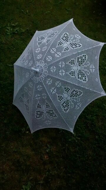 Crocheted umbrella...awesome!