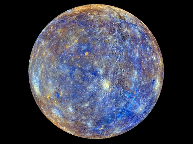 Blue Planet Earth is the blue planet, but here Mercury earns the moniker. The innermost planet appears in beautiful blue in this map made from images taken by the MESSENGER spacecraft. The colors represent the geology of Mercury's surface, from chemical to mineralogical to physical differences in the rocks.