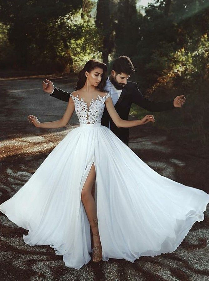 Lang A Linie Illusion Hals Schlitz Kappe Armel Chiffon Weiss Ball Abendkleid Mit Applikationen Kleider Hochzeit Prinzessin Kleid Hochzeit Ballkleid Hochzeit