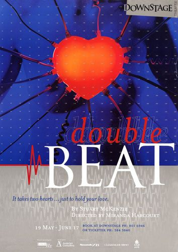 Double Beat by Stuart McKenzie. Downstage Theatre poster.
