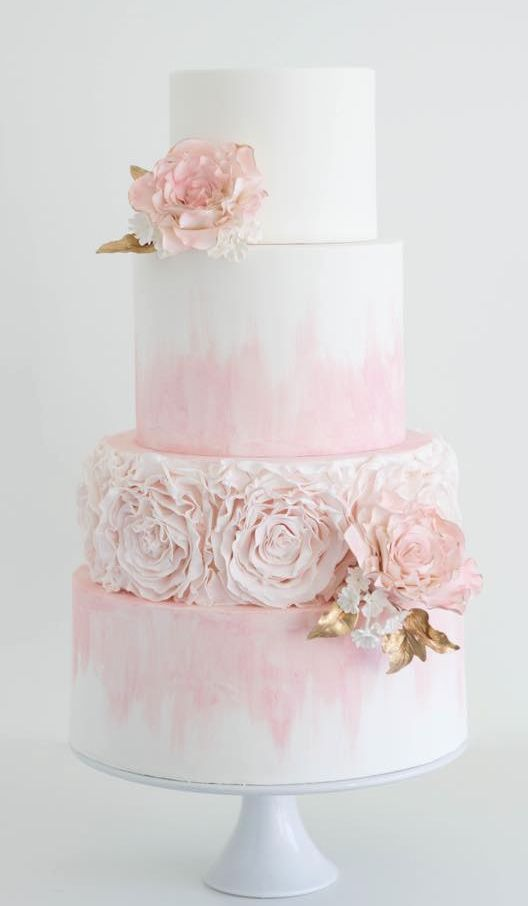 Featured Cake: Cake by Annie; Romantic light pink wedding cake with chic florals and pink stain design