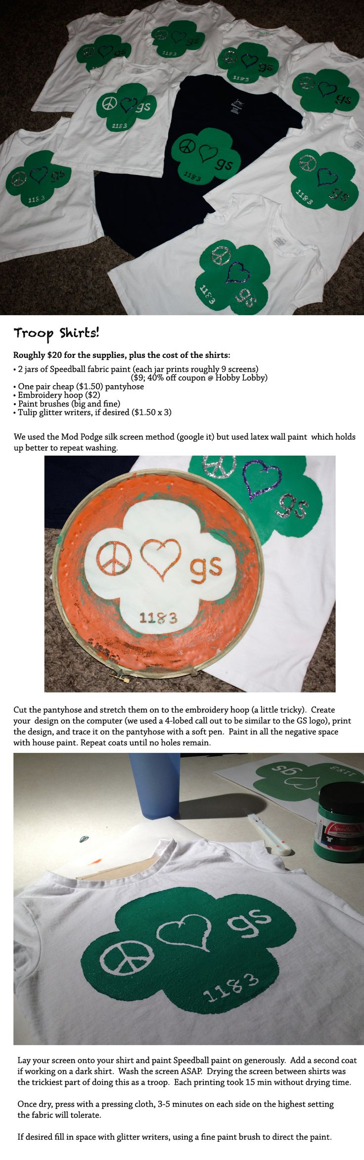 "Girl Scout handmade troop shirts, DIY ""mod podge"" silk screening done with latex house paint."